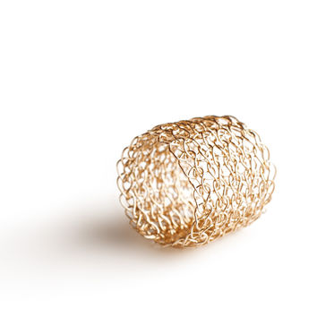 Wire crocheted band ring , yellow gold filled