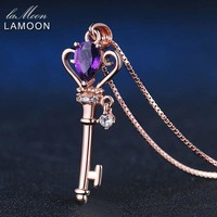 LAMOON Crown Key Pendant Necklace 6x4mm 0.4ct Natural Teardrop Amethyst 925 Sterling Silver Jewelry Rose Gold Color S925 LMNI004