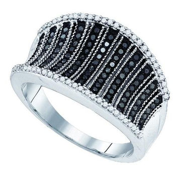 10K White-gold 0.48CT BLACK DIAMOND MICRO-PAVE RING