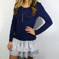 Brunch In Boston Navy Lace Bottom Tunic Dress