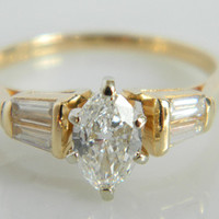 Vintage yellow gold engagement ring – Etsy