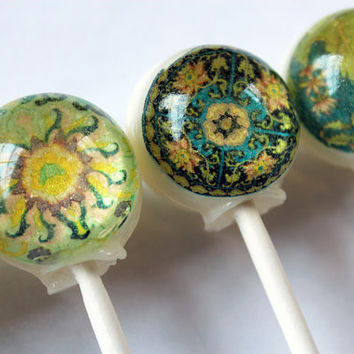 Pretty patterns series - Asian influence - ball style edible images hard candy lollipop - 6 pc. - MADE TO ORDER