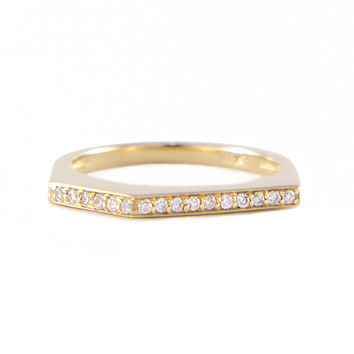 Yellow Gold Angular Ring With Diamonds