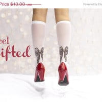Special Christmas socks - bows printed socks / Christmas bow / Christmas Day / Christmas holiday /  jolly  / merry Christmas / tattoosocks