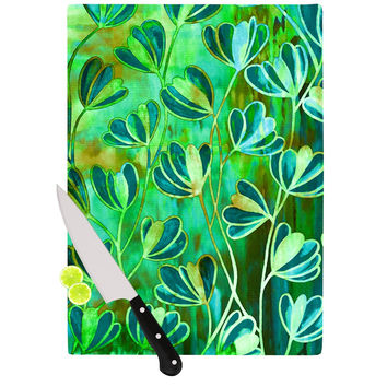 "Ebi Emporium ""Effloresence - Blue Green"" Teal Green Cutting Board"