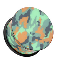 Camouflage Acrylic Single Flared Ear Gauge Plug