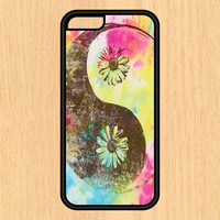 Watercolor Yin Yang Peace Hippy Daisy Flower Art Print Cell Phone Case iPhone 4/4s 5/5c 6/6+ Case and Samsung Galaxy S3/S4/S5