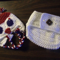 Red White And Blue Patriot Baby Owl Hat and Diaper Cover Handmade Crochet original