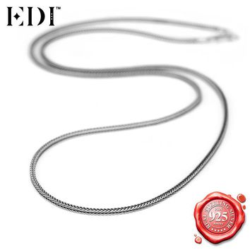 EDI 925 Sterling Silver Fine Jewelry Vintage Thai Silver Snake Chains Necklaces for Women/Men Perfect for Charms & Pendants