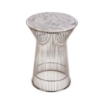 Warren Side Table w/ White Carrara Marble Top - Reproduction