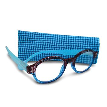 Blue 1.25 Magnification Round Reading Glasses