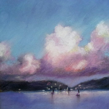 Harbor Lights 6 x 6 Pastel Original Painting by LittletonStudio