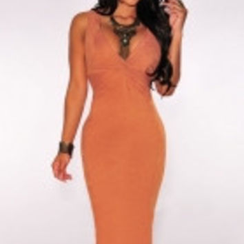 Orange Faux Suede Knotted Keyhole Dress