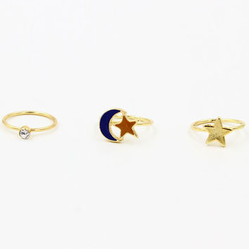 Moon And Star Faux Diamond Ring Pack