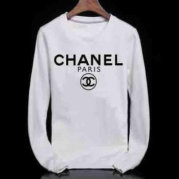 CHANEL Stylish Leisure Print Sport Pullover Top Sweater Sweatshirt White I