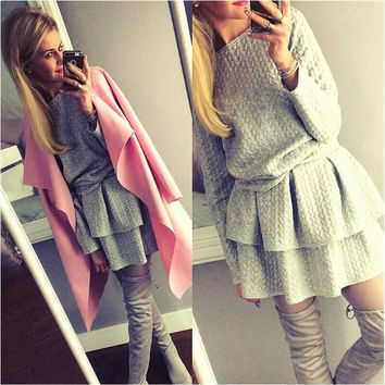 Gray Long Sleeve Flounced Layer Mini Dress
