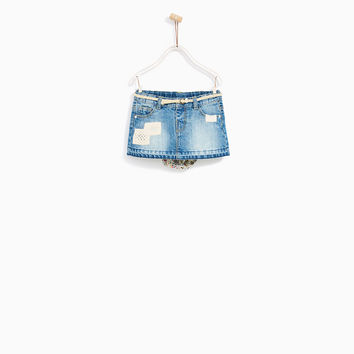 DENIM SKIRT WITH BRIEFS AND LACE PATCHES DETAILS