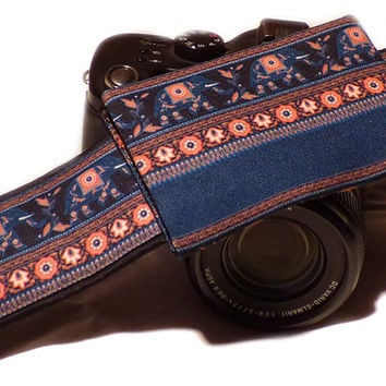 Camera Strap with pocket. Lucky Elephants Camera Strap. SLR, dSLR Camera Strap. Canon, Nikon Camera Strap. Photo Camera Accessories