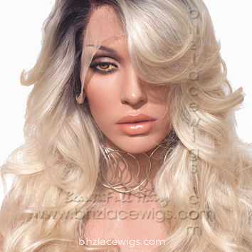 Dark root blonde lace front wig Champagne ombre blonde lace wig beyonce lace front wig  wig Kardashian lace front wig drag queen lace wig