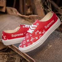 Sale LV x Supreme x Vans Customise Authentic Red White Casual Shoes Skateboard Shoes GL-02