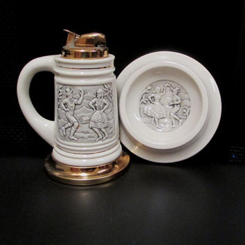 Vintage Evans Fuel Lighter and Ashtray Set  Stein with Dancing German Couple