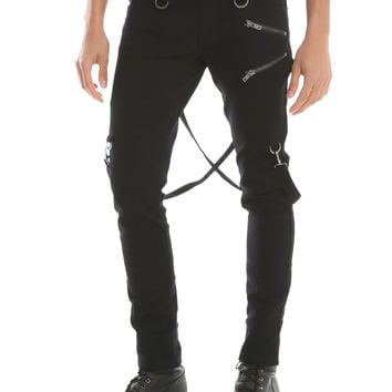Tripp Black Zipper Detail Suspender Skinny Jeans