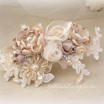 R795 - Liesl bridal hairpiece floral - veil comb wedding hair accessory - ivory champagne