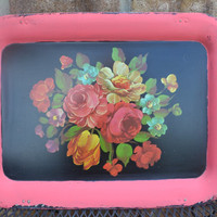 Upcycled Vintage tray roses pink chalk piant distressed bright housewares kitchen decor