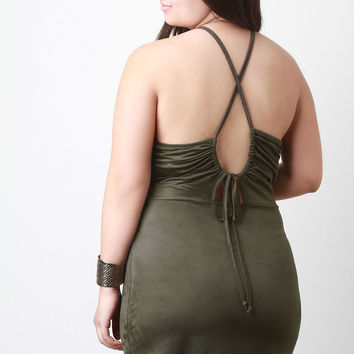 Drawstring Back Strappy Suede Mini Dress