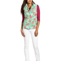 Lilly Pulitzer Women's Lauren Printed Puffer Vest, Sand Bar Blue Spike the Punch, X-Large