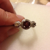 Garnet Citrine Amethyst Sterling RING Size 8 Silver Red Purple Yellow 925 CZ Cubic Zirconia Vintage New Sparkly Jewelry Bridal Engagment