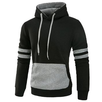 Mens Casual Cotton Hoodies Stylish Stiching Color Front Big Pocket Sport Hooded Tops