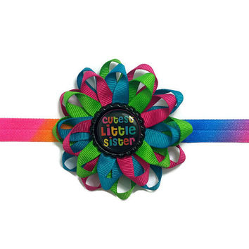 "Cutest Little Sister - Handmade 3.5"" Bottle Cap Hair Bow - Elastic Headband - Hair Clip - Blue, Green, Pink, Black Sister Hair Bow Headband"