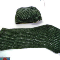 Hand Knitted Knit Womens Hat Slouchy Slouch Design Chunky Lace Beret Dark Olive