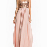 Pink Strapless Sequined Maxi Dress -SheIn(Sheinside)