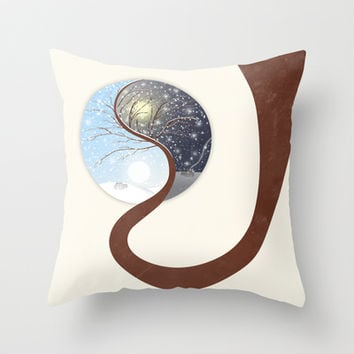 Yin-Yang Tree : Day - Night (Winter) Throw Pillow by Paula Belle Flores
