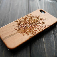 Cherry Wood PC iPhone 5 5s Case Cover , Durable Wood iPhone 5 5s Case , Real Wood Phone Case for iPhone 5 5s , Christmas Gift for Mom