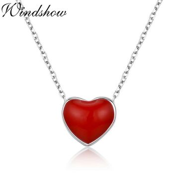 Slim Tiny Cute Small Red Heart Charm Pendant 925 Sterling Silver Cross Chain Choker Necklace Women Girls Friend Jewelry Bijoux