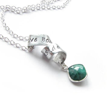 Free-form Emerald Necklace, Hand Stamped Necklace, Customize Necklace, May Birthstone Necklace