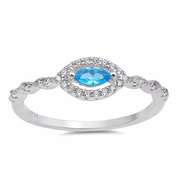 Sterling Silver CZ Simulated Blue Topaz Simulated Diamond Halo Evil Eye Ring