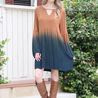 Bell Sleeve Ombré Tunic Dress