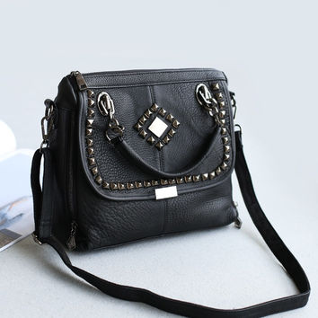 Leather Vintage Rivet Stylish One Shoulder Korean Bags [6048713985]