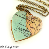 California Map Necklace, Large Vintage Heart Locket,  Antique Map Jewelry, Los Angeles, San Francisco, San Diego, Oakland, Santa Barbara