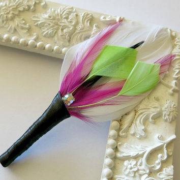 Wedding Groomsmen Boutonniere White , Pink ,Black, Lime Green, Feather Boutonniere Lapel Pin Buttonhole