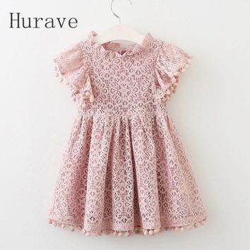 Hurave 2017 Summer girls dress lace dress for kids clothes fashion tassel dresses princess children summer vestidos