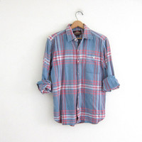 Vintage Plaid Flannel / Grunge Shirt / Boyfriend shirt / distressed flannel / Tomboy shirt