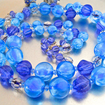 ALICE CAVINESS Blue Beaded Necklace Earrings Set, Glass & Lucite Blue Purple, Double Strand, Vintage