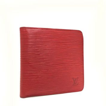 Auth Louis Vuitton Epi Portefeuille Marco Red Leather Bifold Wallet /g389