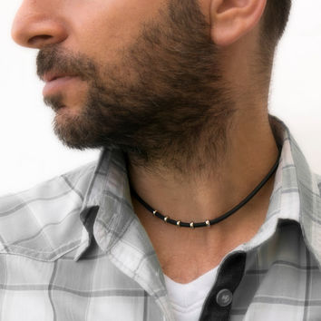 Men's Necklace - Men's Choker Necklace - Men's Vegan Necklace - Men's Jewelry - Men's Gift - Boyfriend Gift - Guys Jewelry - Husband NV4