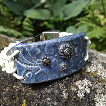 Ceramic and Leather Wrap Bracelet, Denim Blue Pottery Focal with White Braided Leather (CB-408)